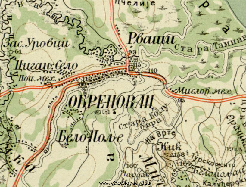 obrenovac karta srbije Obrenovac na đeneralštabnoj karti Kraljevine Srbije obrenovac karta srbije